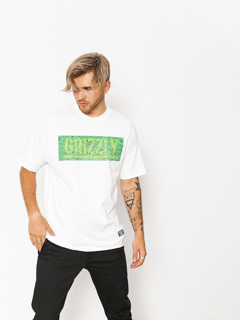 Tričko Grizzly Griptape Fresh Cut Box Logo (white)