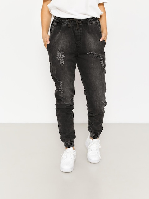 Nohavice Diamante Wear Rm Jeans Jogger Wmn (ripped black jeans)