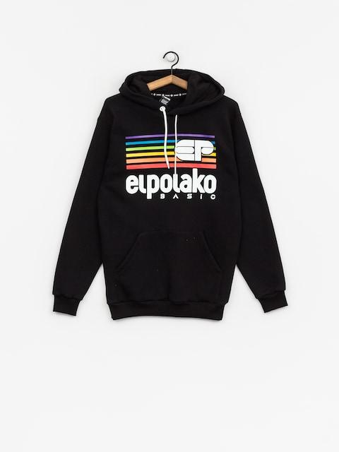 Mikina s kapucňou El Polako Rainbow HD (black)