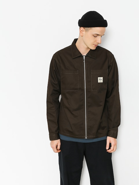 Košeľa Stussy Zip Up Work (brown)