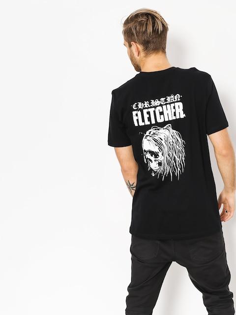 Tričko RVCA Fletcher Skull (black)