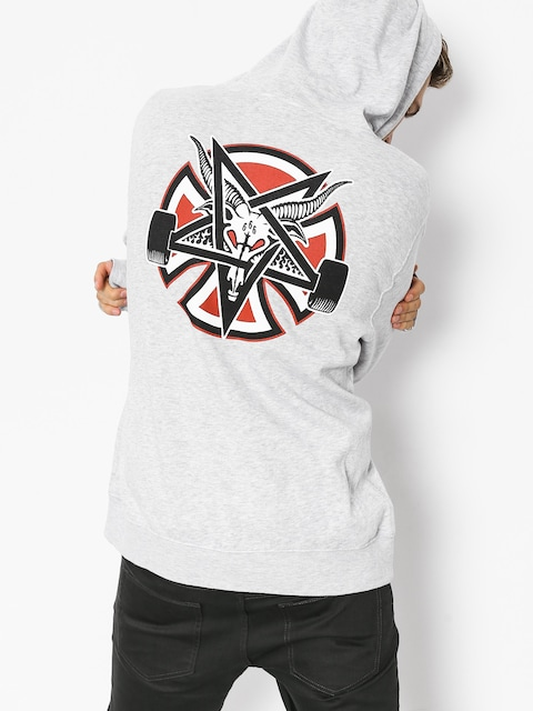 Mikina s kapucňou Independent x Thrasher Pentagram Cross HD (grey heather)