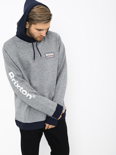 Mikina s kapucňou Brixton Palmer II Intl HD (heather grey/navy)